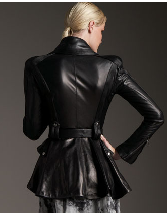 leather riding jacket back view